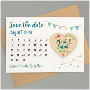 PERSONALISED Kraft Save The Date Cards Wooden Heart Fridge Magnets Love Birds