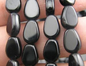 100pcs-black-Flat-Water-Droplets-Crystal-Glass-Beads