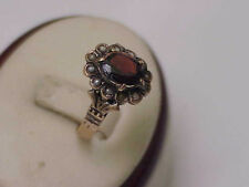 1880s Antique Estate Gothic Victorian Rose 12K Gold Garnet Pearl Ring