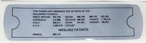Classic Austin Mini New Patent Valve Rocker Cover Decal /'weslake/'