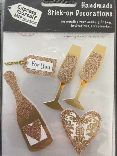 Express Yourself MIP Glitter Toppers Champagne Bottle /& Glasses