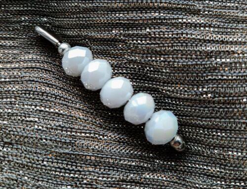 4.8cm Silver//AB White Tone Safety Pin Brooch~Scarf//Shawl Pin//Kilt Pin
