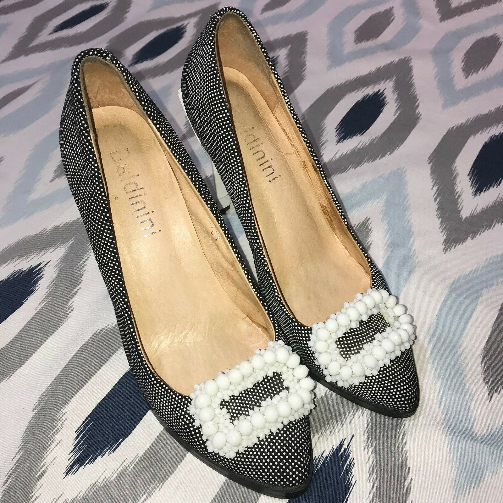 Baldinini Size US 5    35 Black & White Jeweled Geometric Designed Heels d58791