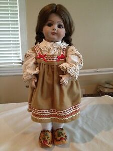 Vintage-Dutch-Girl-Doll-17-tall-with-Stand