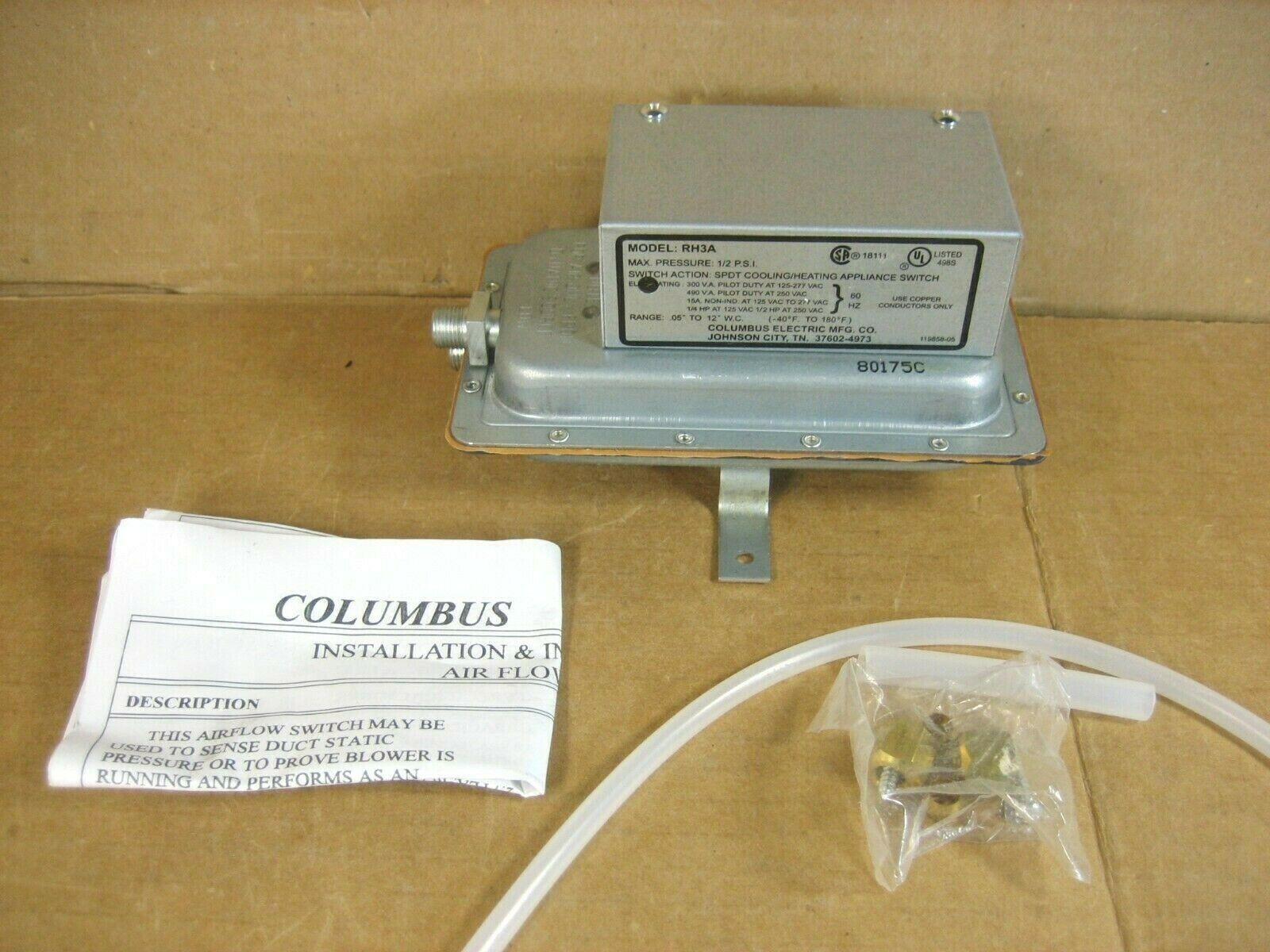 Columbus Electric RH3A Heating Cooling Airflow Switch 94417-000