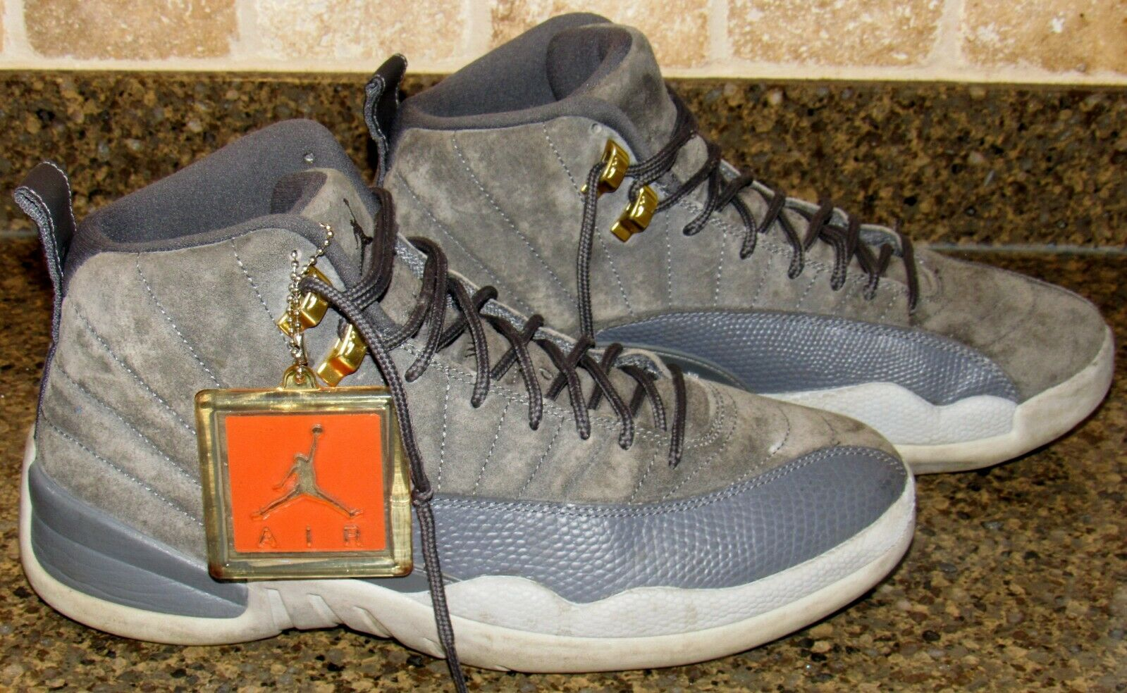 astronauta azufre Paternal  Nike Air Max Jordan 12 Sneakers (130690-005) - Dark Grey/Wolf Grey/Golden  Harvest/Dark Grey, Size 9 for sale online | eBay