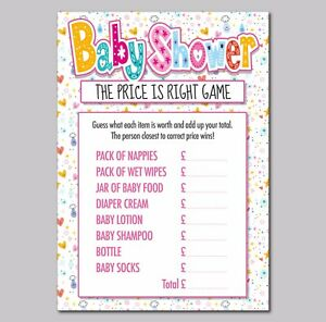 9f46676792d70 Details about The Price is Right Baby Shower Game, stars and heart pack of  16 A6 Cards