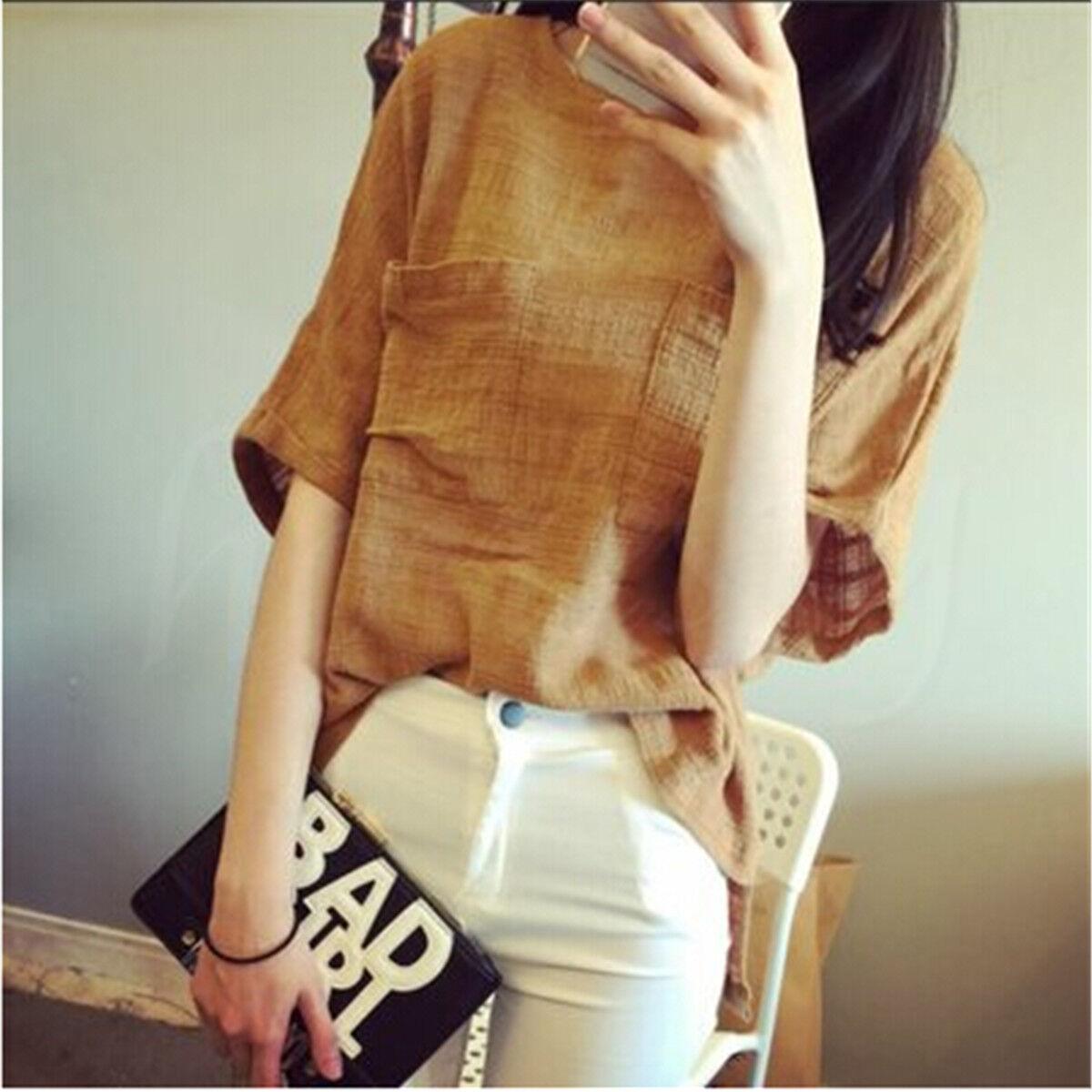 Women Short Sleeve Round Neck T-shirt Cotton Linen Casual Loose Blouse Tops