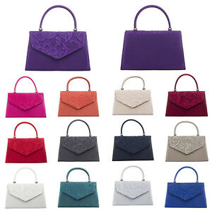 HCUK Ladies Designer Satin Lace Rigid Handbag Clutch Bag Evening Bag K(H345)