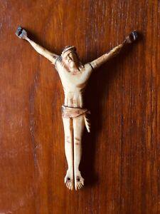 Antique-French-18th-Bone-Crucifix-Christ-Jesus-Cross-Christian-Relic-Holy-Jansen