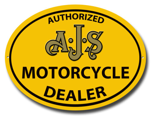 AUTHORIZED AJS MOTORCYCLE DEALER OVAL METAL SIGN.VINTAGE MOTORCYCLES.