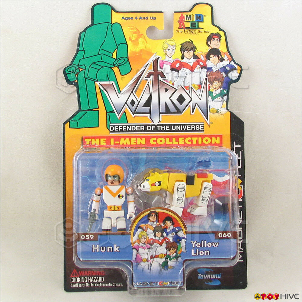Voltron Defender of the Universe - Hunk & Yellow Lion - Toynami I-Men dent worn
