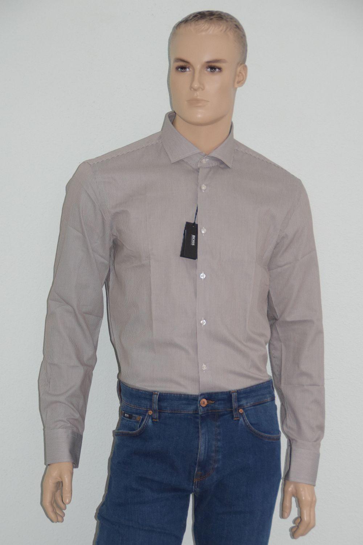 Hugo Hugo Hugo BOSS Camicia Business, Mod. Jason, Tg. 44, slim fit, Dark Marronee 4aca3d