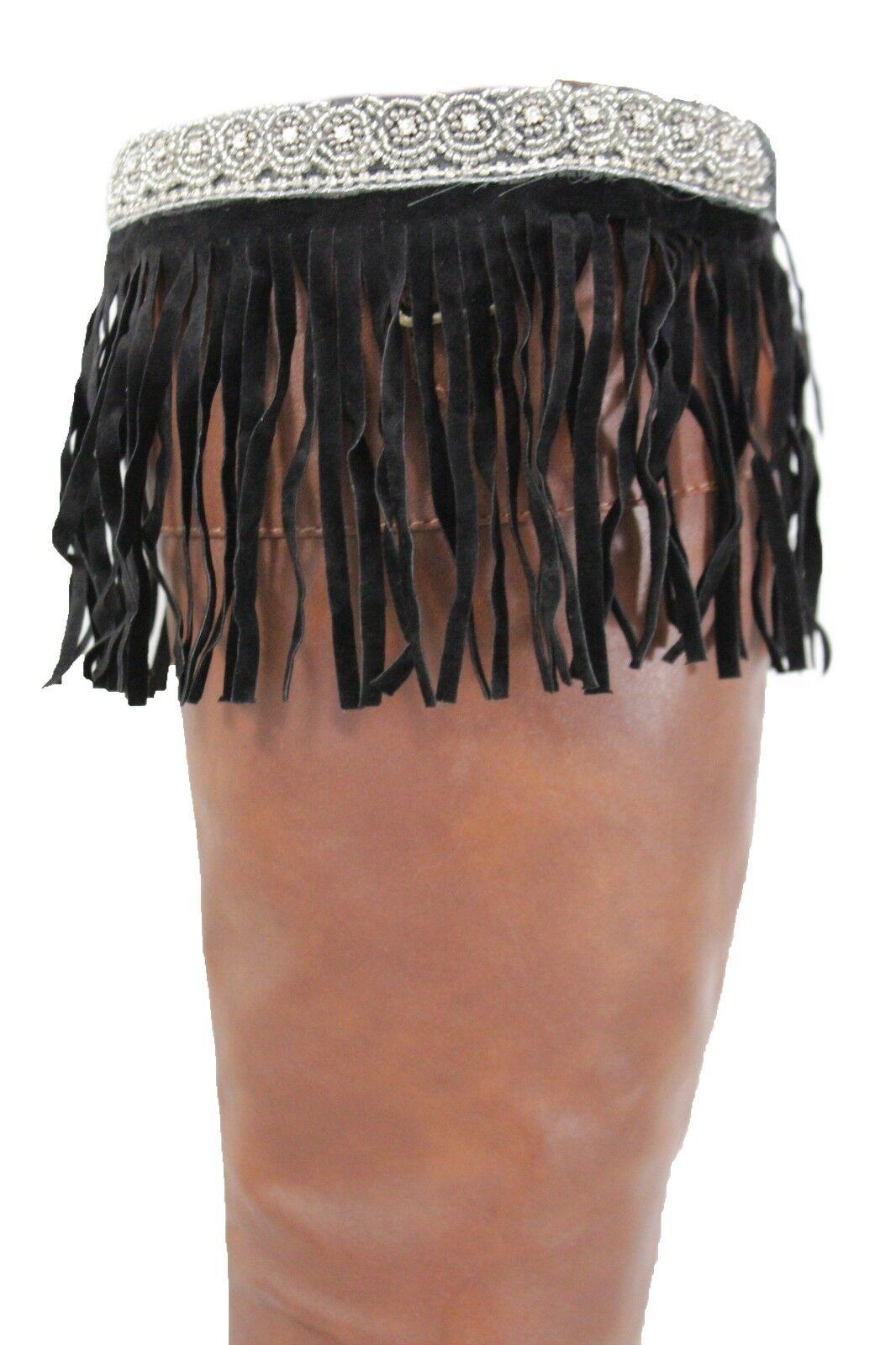 Women Ethnic Native Style Boot Topper Winter Silver Beads Long Black Fringe Pair
