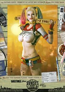 Harley-Quinn-Suicide-Squad-SEXY-039-Sunset-City-039-DC-Comic-Signed-A3-Print-Gotham