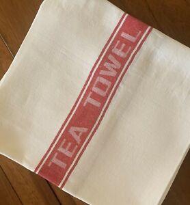 Thomas Ferguson Pure Fine Woven Irish Linen Tea Towel - Red Stripe, Ireland.