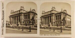 Postal- Bélgica Anvers Palacio Bellas Artes c1920 Foto Estéreo Vintage Analógica