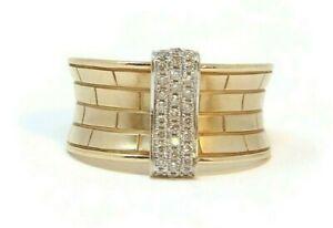Estate-14K-Gold-Diamond-Ring-Size-6-75-Brick-Design
