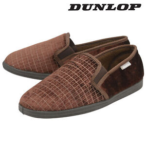 Dunlop-Mens-Slippers-Slip-On-Twin-Gusset-Machine-Washable-Brown-Sizes-7-12