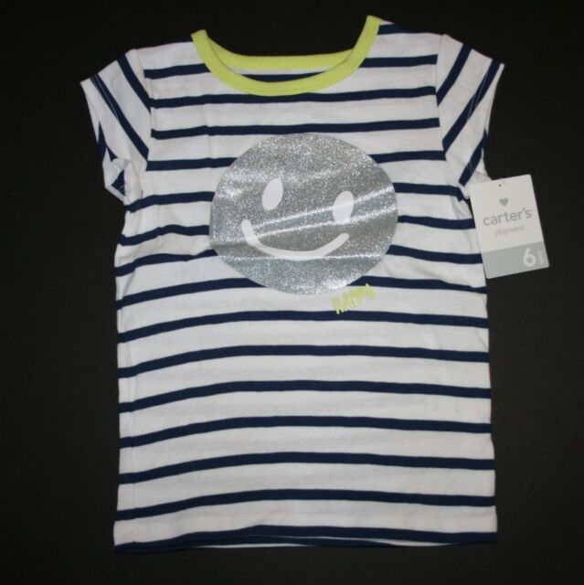 New Carter's Happy White and Navy Striped Smiley Face Happy Top Size 6 Year NWT