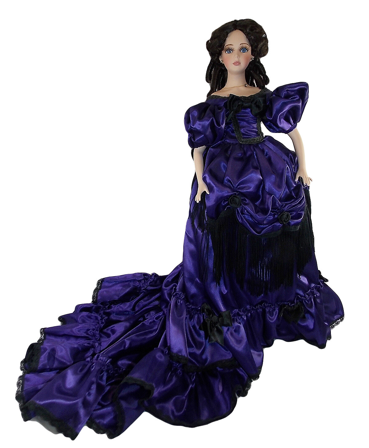 SEYMOUR MANN CARLOTIA PORCELAIN 22  DOLL Collectible púrpura Dress marróne Hair