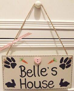 Handmade-personnalise-plaque-signe-pet-rabbit-shabby-chic-clapier-cage-maison-cadeau