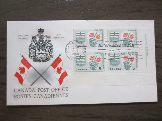 Replacement first day cover # 426 plat block L.LFloral&coat of arm, Alberta