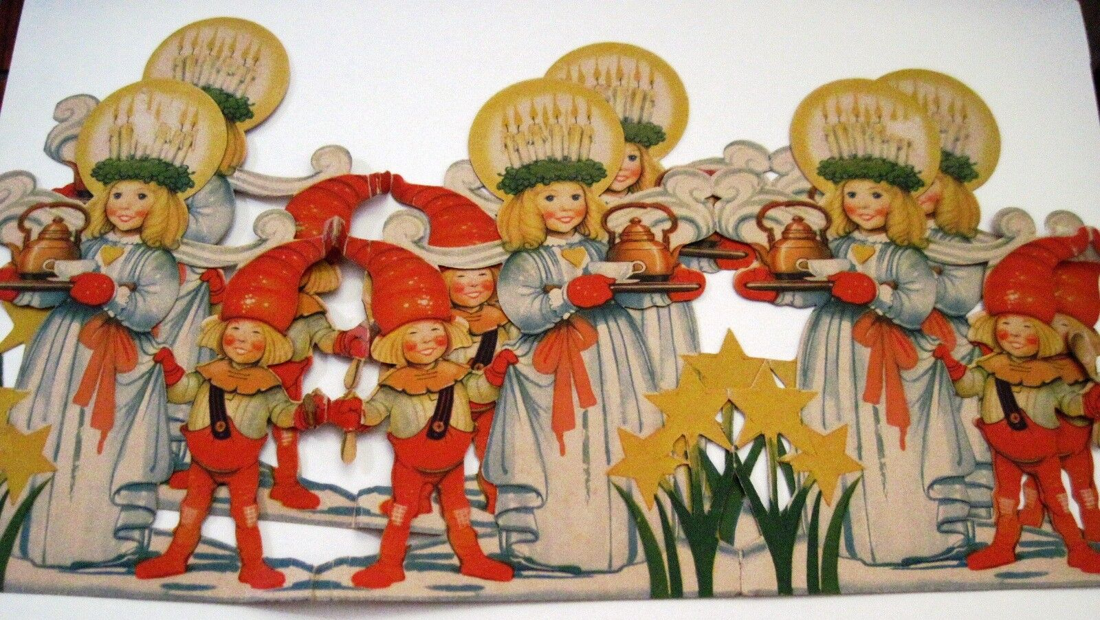 Vintage Christmas Decoration Banner w  6 Girls w Candles on Heads & 6 Boys