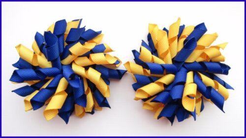 SCHOOL UNIFORM DARK ROYAL BLUE YELLOW GOLD CHEER CORKER CURLY KORKER HAIR BOWS