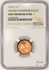 197X-D Lincoln Cent Obverse Counter Brockage Mint Error NGC MS-65 RD; Neat Error