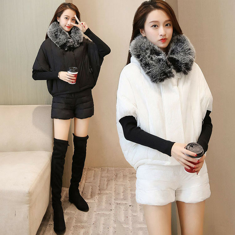 Womens Batwing Sleeve Hooded Short Cotton Coat+Cotton Shorts Two-piece Set New