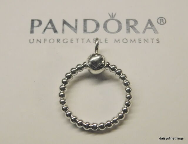 Authentic PANDORA Moments Charm Silver Beaded O Pendant Size Small  #399077c00