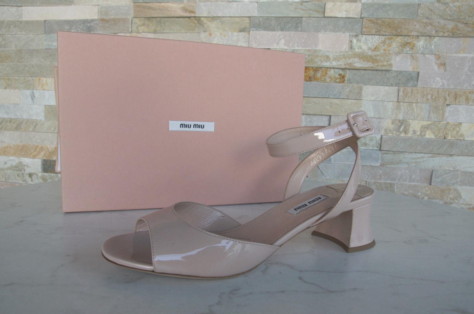 Miu Miu sandalias zapatos shoes de cabra charol nude nuevo PVP
