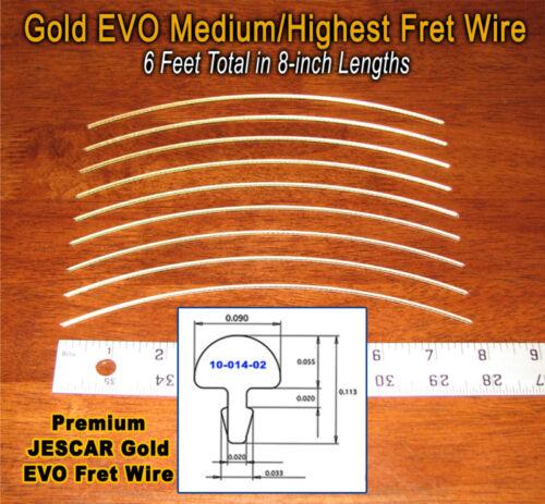 6ft Jescar Gold EVO MEDIUM//HIGHEST Frets//Fret Wire for Guitar /& More!
