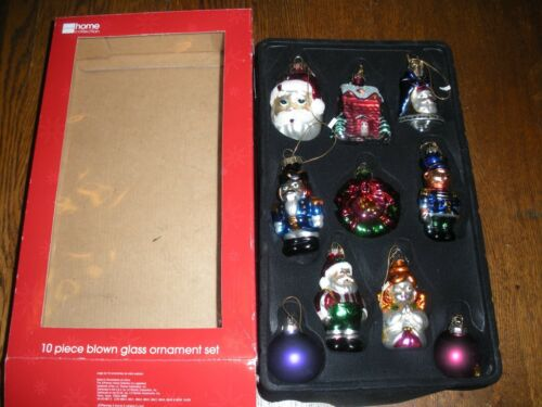 10 blown glass Christmas ornaments figural JC Penney Santa angel soldier NEW