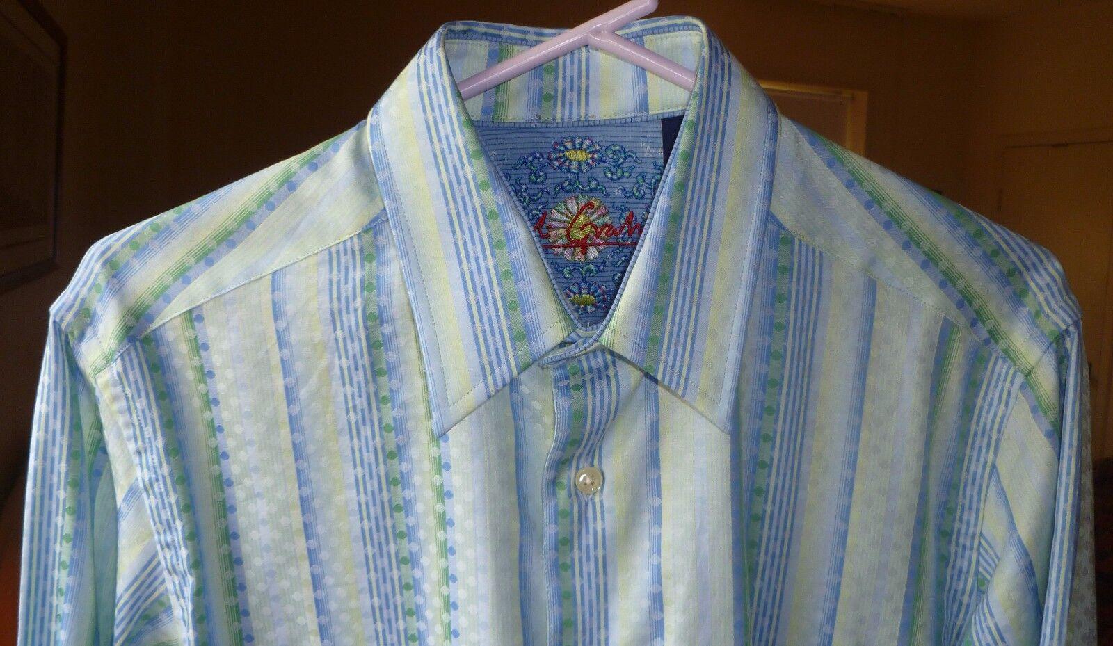 MEN'S ROBERT GRAHAM blueE GREEN & YELLOW STRIPED DOTS DRESS SHIRT, SIZE S P