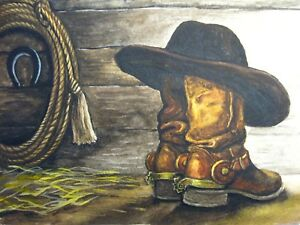 Image is loading Painting-Cowboy-Hat-Old-Boots-Lasso-Farm-5x7- 889c02f2e666