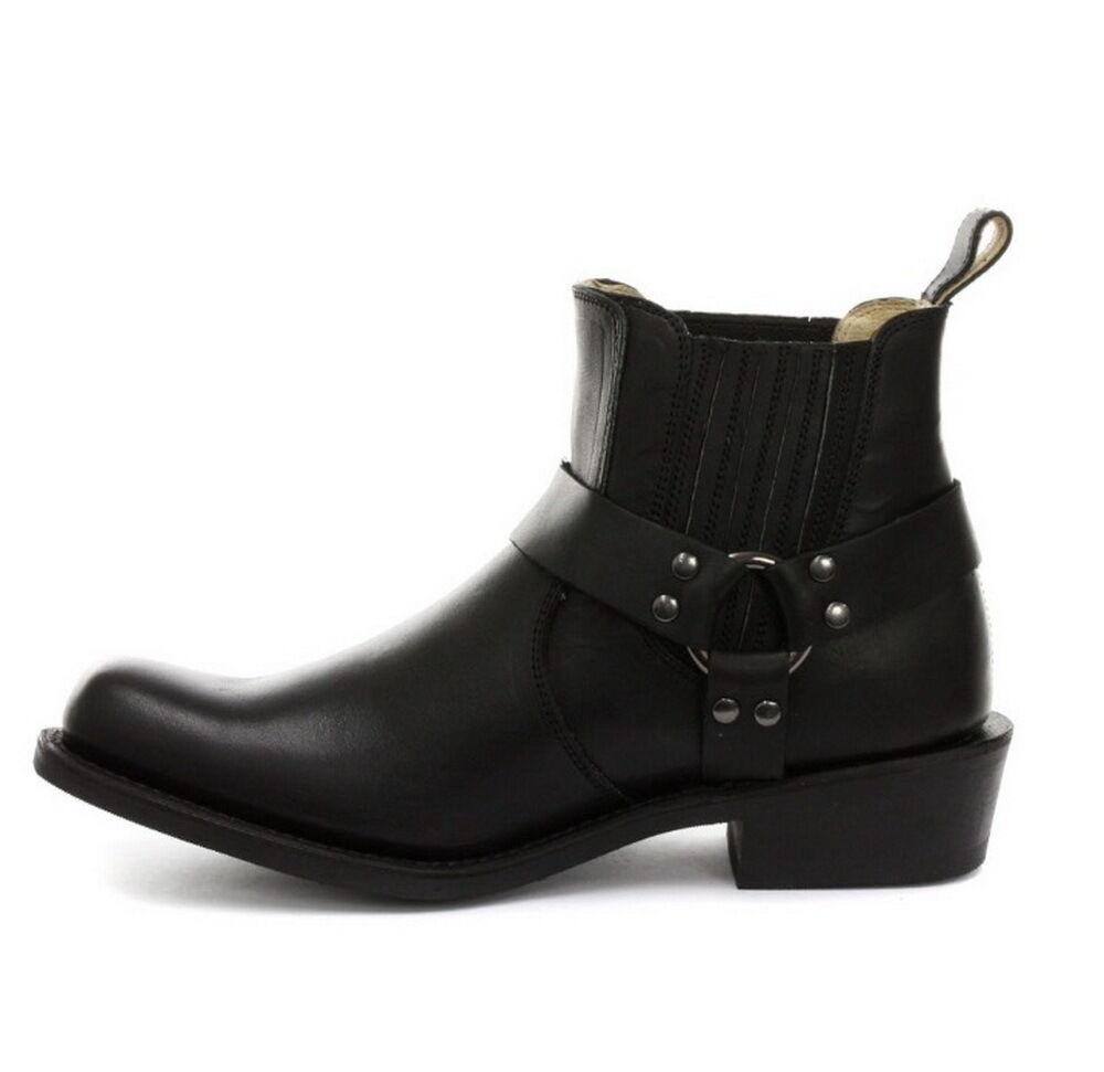 Grinders NUOVO RIBELLE Cowboy Alla Caviglia Stivali Da Cowboy RIBELLE Equitazione Nero con Cinturino Caviglia modo Three 64249f
