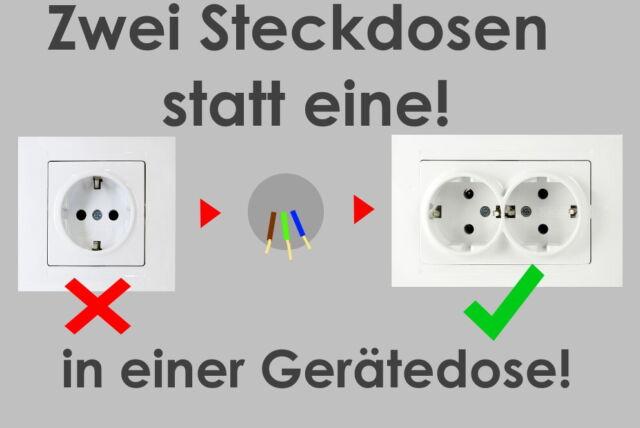 10Stk Packung Visage 2-fach Steckdose Unterputz Komplett Weiss Doppel Steckdose