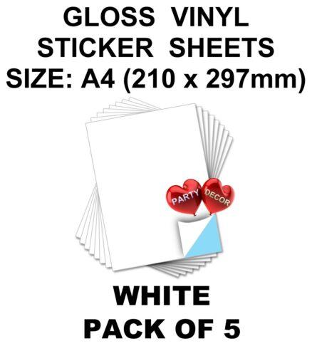 5 x Feuille De A4 Blanc Self Adhésif Vinyle pour Hobby /& Craft By Party Decor