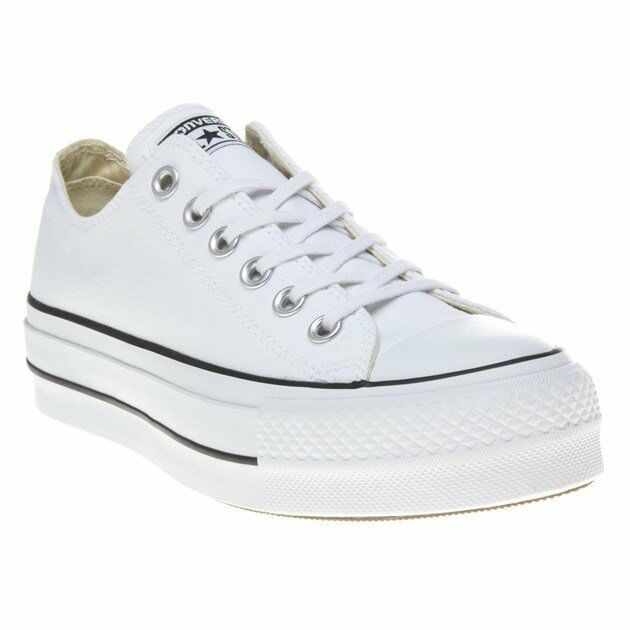 New Womens Converse White Bll Star Lift Ox Canvas Trainers Lace Up