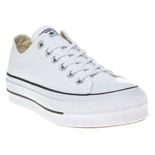 New Womens Converse White All Star Lift Ox Canvas Trainers Lace Up