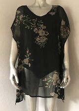 NEW O'Neill Women's Bali Printed Swim Cover Up Extra Large XL Black Floral