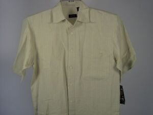 Izod-Shirt-S-Men-Hawaiian-Yellow-Beige-New-NWT
