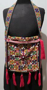 Vintage Hand Embroidered Thai Hill Tribe Cross Stitch Shoulder Bag