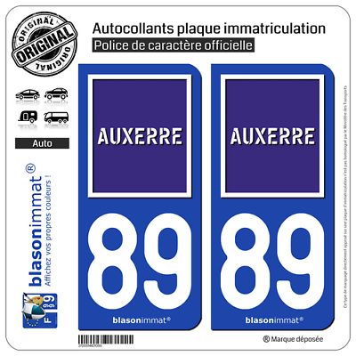 2 Stickers Autocollant Plaque Immatriculation Auto : 89 Auxerre - Ville