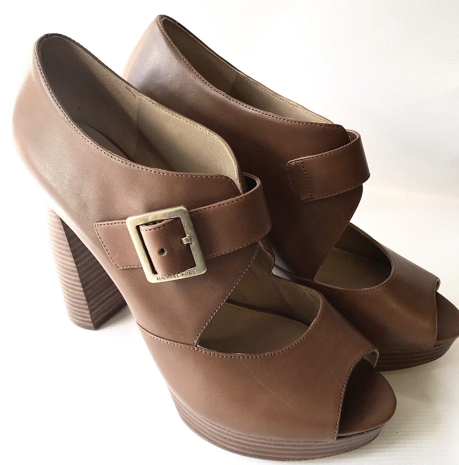 MICHBEL KORS Women's Block Heel Peep Toe Sandals, Tan Leather,  10M / UK 7.5