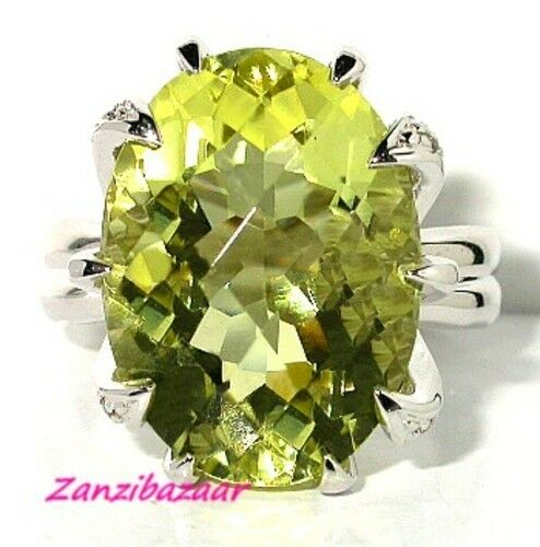 HUGE 14K WHITE gold LEMON QUARTZ & DIAMOND RING