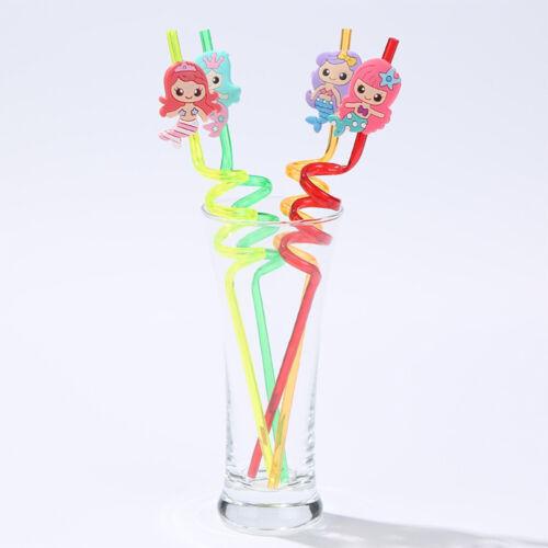 4pcs Reusable PVC Drinking Straws Cute Mermaid Straws Hawaii Party Table Dec gv