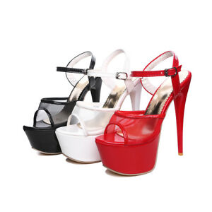 Women-039-s-Mesh-Peep-Toe-High-Heel-Stiletto-Shoes-Platform-Ankle-Strap-Sandals-D106